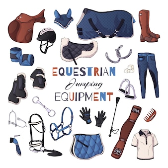 Vector illustrations on the equestrian equipment theme
