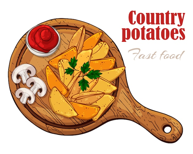 Vector illustrations on the fast food theme: country potatoes on a board.