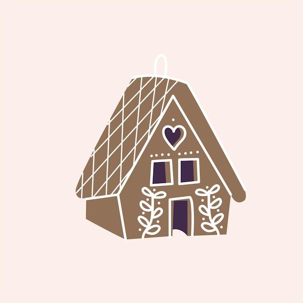 Векторные иллюстрации пряничный домик. милый наивный рождественский медовик.