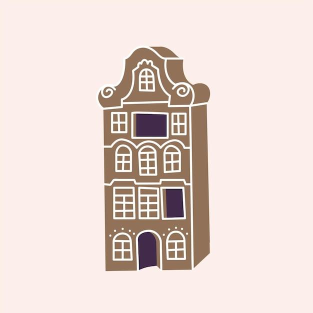 Vector illustrations gingerbread house. cute naive christmas honey-cake.
