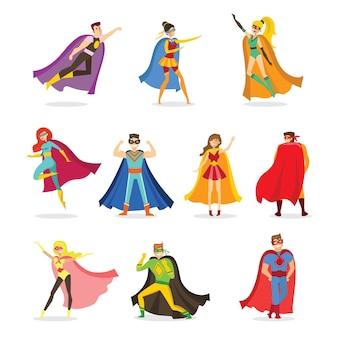 재미있는 만화 의상을 입은 여성 및 남성 슈퍼히어로의 평면 디자인의 벡터 일러스트