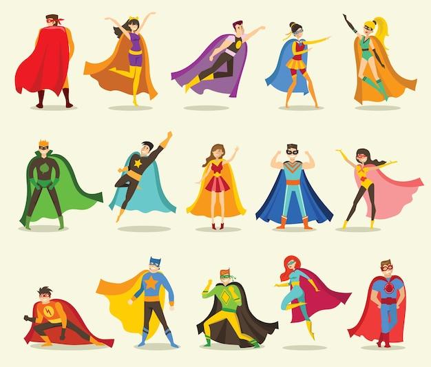 面白い漫画の衣装でo男性と女性のスーパーヒーローのセットのフラットデザインのベクトルイラスト