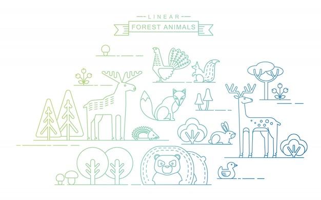 Векторные иллюстрации лесных животных.