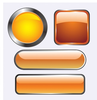 アイコンのための光沢のあるガラスボタンのベクトル図。