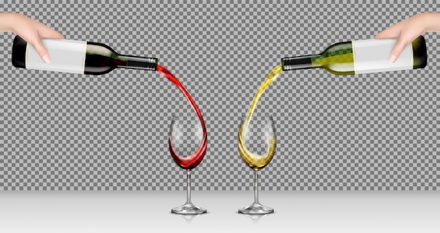 白と赤のワインとガラスの瓶を持って手のベクトルイラストと透明な眼鏡に注ぐ