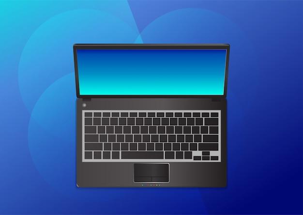ノートパソコンの上面のベクトルイラスト
