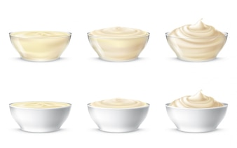 Vector illustrations of mayonnaise, sour cream, sauce, sweet cream, yogurt, cosmetic cream