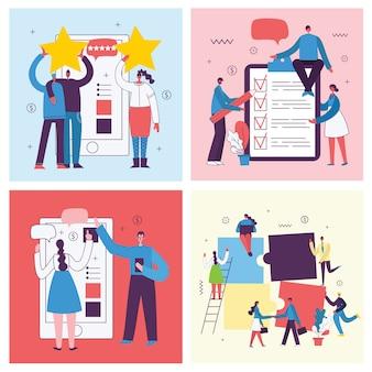 평면 스타일에 사무실 개념 비즈니스 사람들의 벡터 일러스트. 전자 상거래, 온라인 교육, 프로젝트 관리, 온라인 지원, 비즈니스 개념 시작