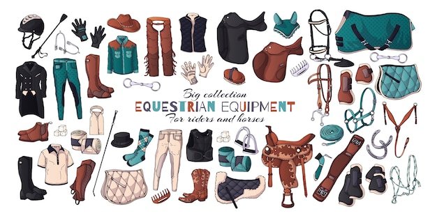 乗馬用品のテーマのベクトルイラスト。