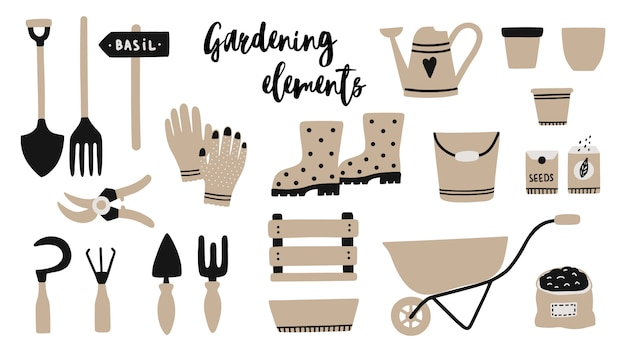 Vector illustrations set with garden tool elements.