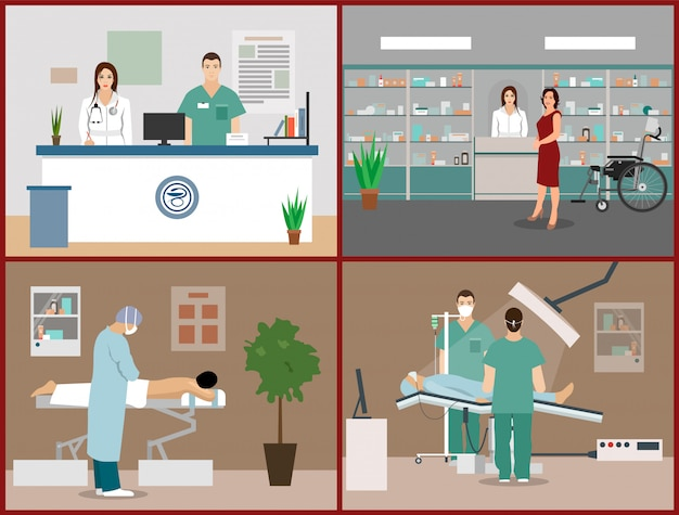 Vector illustrations set with patients, doctors and hospital interiors. health care and medicine concept. clinic reception, massage, surgery operation room