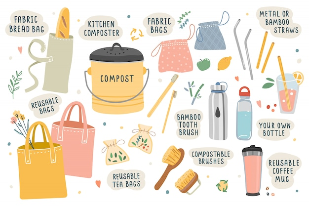 Vector illustrations of tools and things for ecological zero waste