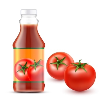 Vector illustrations of transparent bottle with tomato ketchup and two fresh red tomatoes
