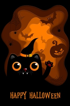 Vector illustrations with black cat halloween poster designs