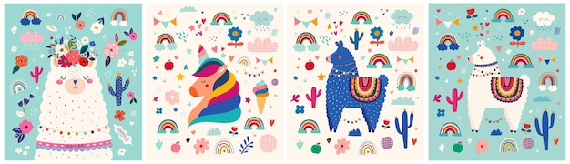 Vector illustrations with cute llama and unicorn with other elements on background