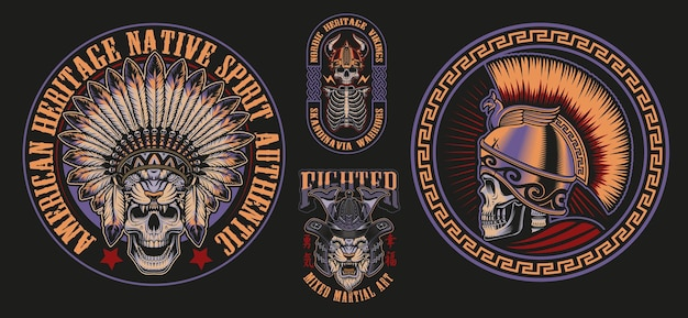Vector illustrations with skulls of warriors such as spartan samurai