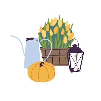 Vector illustrationset of autumn accessories - fall flowers, garden watering can and pumkin with candle lantern. traditional fall season attributes.