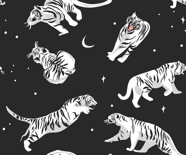 Сафари богемный современный бесшовный узор с экзотическими белыми тиграми