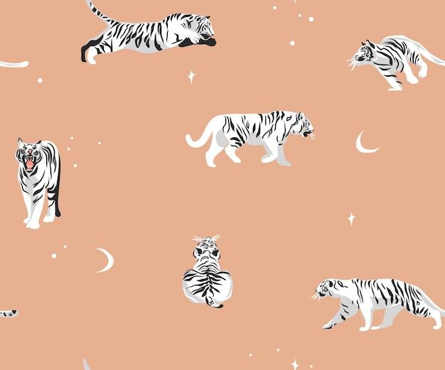 Сафари богемный современный бесшовный узор с экзотическими дикими тиграми