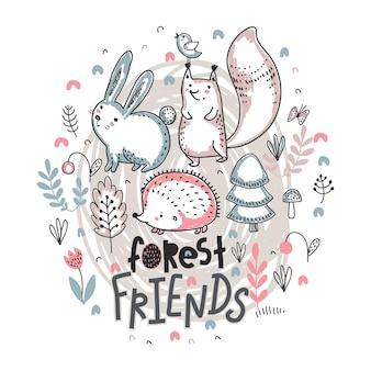 Vector ilustration of cute hand drawn animals with flowers plants mushrooms