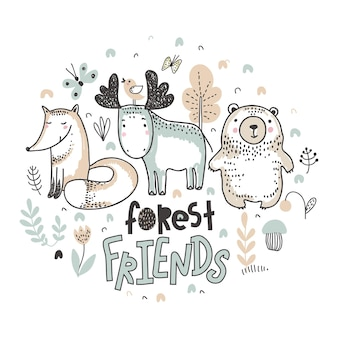 Vector ilustration of cute hand drawn animals with flowers