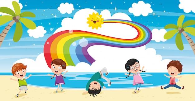 다채로운 자연 장면의 벡터 ilustration