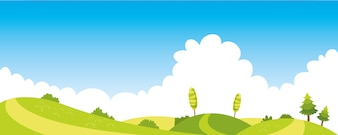 Vector Ilustration Of Colorful Nature Scene