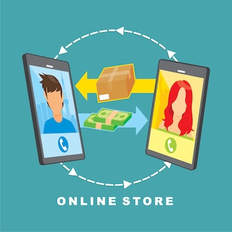 Vector image about online store