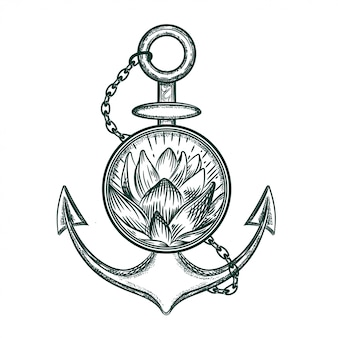 Vector image of an anchor and lotus.
