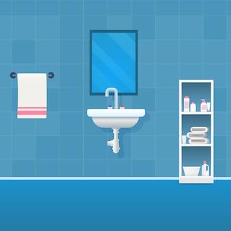 Vector image cartoon view bathroom in blue tones