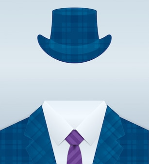 Vector image of close up suit with hat