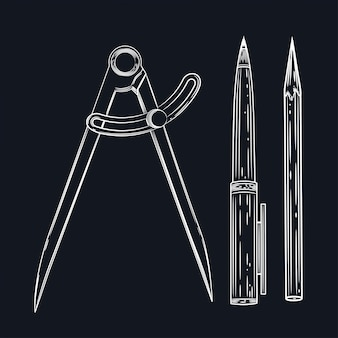 Vector image of a compass, pen and pencil. a set of educational supplies.