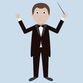 Vector image of a conductor with a baton. modern and flat style.