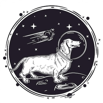 Vector image of a dachshund in an astronaut's helmet.