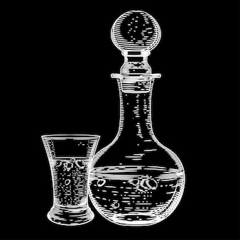Vector image of a decanter of vodka and a glass of vodka on black