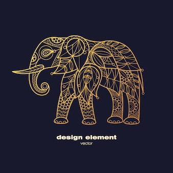 Vector image of decorative animal elephant.