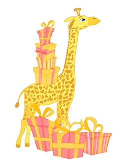 Vector image of giraffe with gifts and balloon