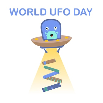 Vector image for international ufo day a flat picture of a flying saucer with aliens