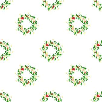 白い背景のシームレスなパターンに赤い花と緑の葉とヒルガオのベクトル画像