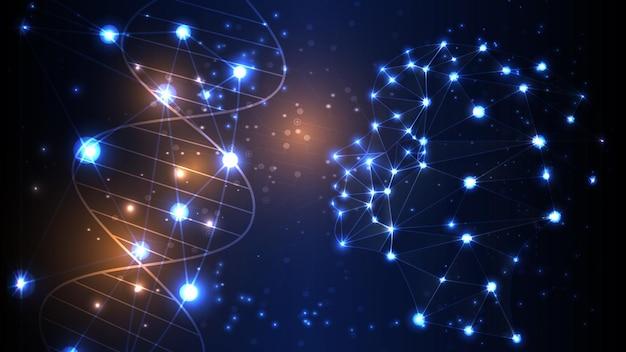 Векторное изображение искусственного интеллекта в виде светящейся головы человека. eps 10