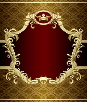 バロック様式の王冠と金のバナーのベクトル画像。