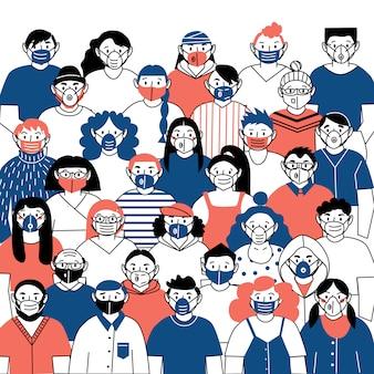 바이러스로부터 자신을 보호하는 의료 마스크를 착용하는 사람들의 벡터 이미지. 코로나 바이러스 감염병 유행. 인플루엔자 섬광.