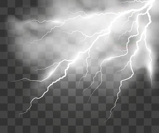Векторное изображение реалистичной молнии вспышка грома на прозрачном фоне