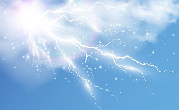 透明な背景にリアルな稲妻のベクトル画像雷のフラッシュ