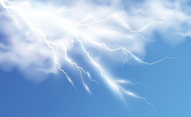 Vector image of realistic lightning flash of thunder on a transparent background