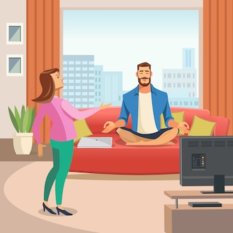 Vector image of a relaxing home environment.