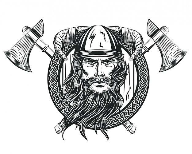 Vector image of a viking's head in a horned helmet