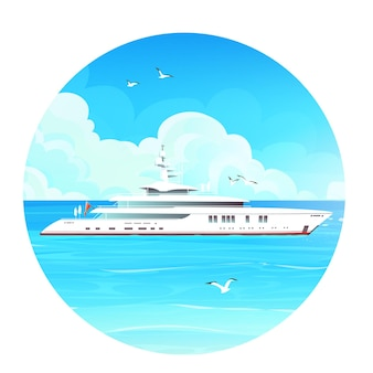 Vector image of a whitecruise liner in the blue sea with flying gulls around.