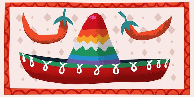 Vector image with child peppers and sombrero festive hat illustration for party invitations cards