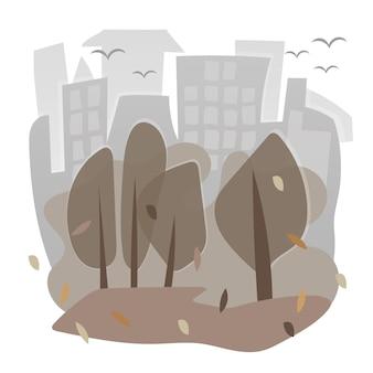 도시와 벡터 이미지 - 가을의 집과 나무